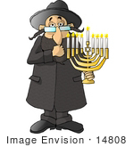 #14808 Jewish Rabbi Carrying A Menorah Clipart
