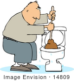 #14809 Man Plunging A Clogged Toilet Clipart