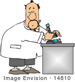 #14810 Middle Aged Caucasian Scientist Using A Microscope In A Lab Clipart