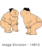 #14813 Two Rikishi Sumo Wrestlers Clipart