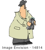 #14814 Spy Holding Binoculars And Looking Over His Shoulder Clipart