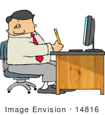 #14816 Caucasian Business Man Taking Notes At His Desk Clipart