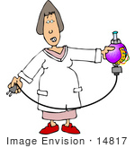 #14817 Scientist Woman With An Electrical Potion Clipart