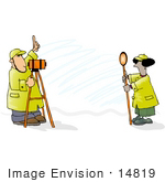 #14819 Surveyor Team In Hats And Raincoats Clipart