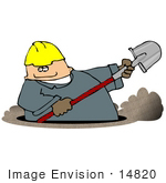 #14820 Man In A Hardhat And Coveralls Digging A Ditch Clipart