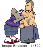 #14822 African American Tattoo Artist Man Tattooing A Caucasian Man With An Ink Gun Clipart