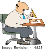 #14823 Business Man Writing Notes At A Desk Clipart