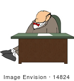 #14824 Business Man Sitting At A Desk Clipart