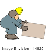 #14825 Woman Construction Worker Picking Up A Box Clipart