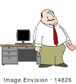 #14826 Chubby Caucasian Business Man Standing By His Computer And Desk Clipart
