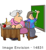 #14831 Teacher and Boy at a Blackboard Solving a Math Problem Clipart by DJArt