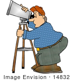 #14832 Astronomer Man Looking Through A Telescope Clipart