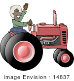 #14837 African American Farmer Man Driving A Tractor Clipart