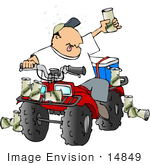 #14849 Man Drinking Beers And Driving An Atv Clipart