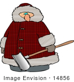 #14856 Man Carrying A Snow Shovel Clipart