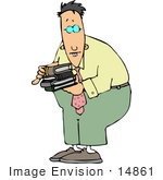 #14861 Caucasian Man Carrying Books Clipart