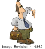 #14862 Man Carrying A Briefcase Clipart