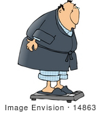 #14863 Man Weighing Himself Clipart