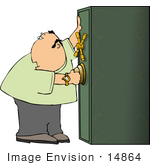 #14864 Man Opening A Safe Box Clipart