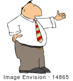 #14865 Caucasian Business Man With His Arm Out Clipart