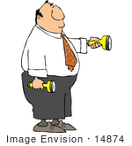 #14874 Business Man Holding Two Flashlights Clipart