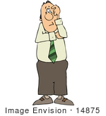 #14875 Confused Caucasian Business Man Clipart