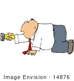 #14876 Caucasian Business Man On His Hands And Knees Holding A Flashlight Clipart