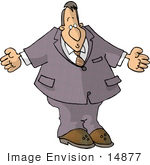#14877 Shrugging Caucasian Business Man Clipart