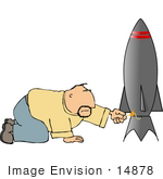 #14878 Man Lighting A Rocket Fuse Clipart