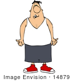 #14879 Caucasian Man In A Wifebeater Tank Top Clipart