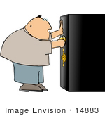 #14883 Man Opening A Safe Box Clipart