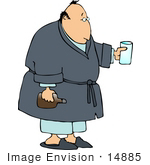 #14885 Sick Middle Aged Caucasian Man Clipart