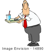 #14890 Caucasian Business Man With A Lunch Tray Clipart