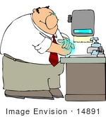#14891 Caucasian Man Washing His Hands Clipart