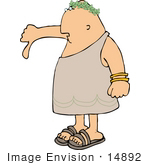 #14892 Emperor In A Toga Giving The Thumbs Down Sign Clipart