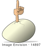 #14897 Arm Sticking Out Of An Egg Pointing Up Clipart