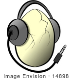 #14898 Cracked Egg Wearing Headphones Clipart by DJArt