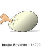#14900 Human Hand Sticking Out Of An Egg Giving The Thumbs Down Clipart