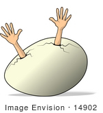 #14902 Human Arms Reaching Out From An Egg Clipart