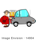 #14904 Woman Pumping Gas Into Her Compact Car At A Gas Station Clipart