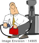 #14905 Man Filling A Gas Can At A Gas Station Clipart