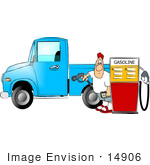 #14906 Man Pumpking Gas Into His Truck Clipart