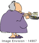 #14907 Elder Woman Cooking Eggs Clipart