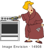 #14908 Blond Caucasian Woman Cooking Eggs Clipart