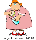 #14910 Obese Woman Eating A Burger And Drinking A Soda Clipart