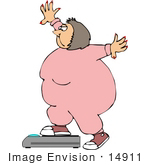 #14911 Obese Woman Weighing Herself Clipart by DJArt