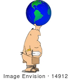 #14912 Caucasian Man In A Loincloth Holding A Sword And Globe Clipart