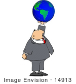 #14913 Caucasian Business Man Holding Up A Globe Clipart