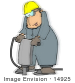 #14925 Caucasian Man Operating A Jackhammer Clipart