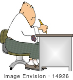 #14926 Man Writing At A Desk Clipart